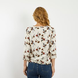 Florrie Brushed Twill Printed Top Chalk