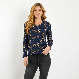 Noelle Soft Touch Printed Slub Jersey T-Shirt Dark Navy