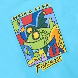 Fishcasso Back Print Artist T-Shirt Cyan