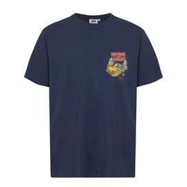 Moules & Seahorses Back Print Artist T-Shirt Dark Navy