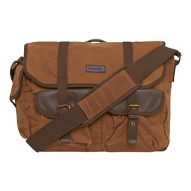 Charlie Waxed Canvas Messenger Bag Dark Tan