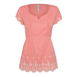 Bosun Embroidered Tunic Top Coral Pink