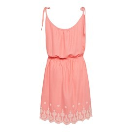 Cordoba Strappy Embroidered Dress Coral Pink