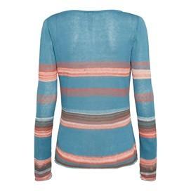 Jalisco Fine Knit Striped Jumper Deep Aqua