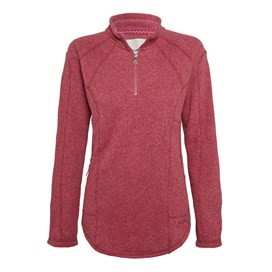 Creel 1/4 Zip Embroidered Back Soft Knit Bubblegum