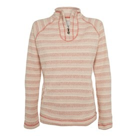 Kino 1/4 Zip Blended Stripe Soft Knit Burnt Orange