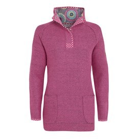 Bella Longer Length Macaroni 1/4 Button Neck Sweatshirt Super Pink