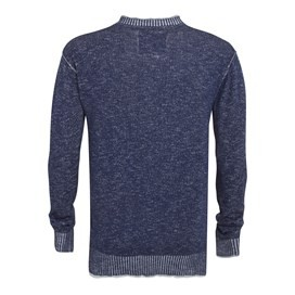 Pechora Button Neck Slub Knit Jumper Dark Navy