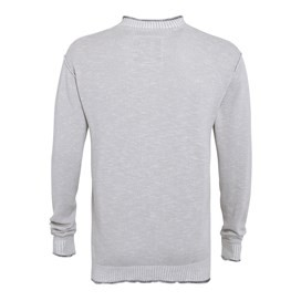 Pechora Button Neck Slub Knit Jumper Pale Silver