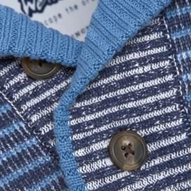 Don 1/4 Button Striped Slub Knit Jumper Dark Navy