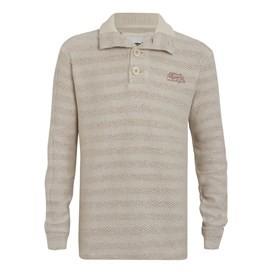 Paulo Tiger Stripe ¼ Button Macaroni Sweatshirt Almond