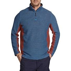 Siren 1/4 Zip Panelled Mac Active Macaroni Sweatshirt Dark Blue
