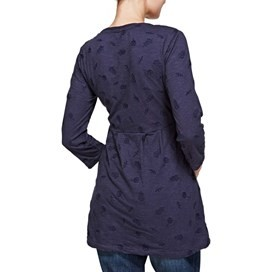 Helma Embroidered Slub Tunic Top Dark Navy