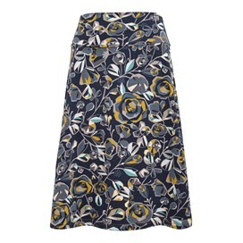Malmo Printed A-Line Mid Length Jersey Skirt Dark Navy
