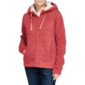 Alfa Zipped Lined Soft Knit Hooded Fleece Foxberry