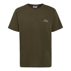 Bones Embroidered Logo Classic Plain T-Shirt Olive Night