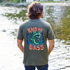 Kiss My Bass Printed Artist T-Shirt Adriatic Blue