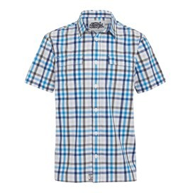 Lamen Short Sleeve Check Shirt Pacific Blue