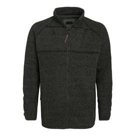 Merlin Plain Zipped Sherpa Lined Tech Soft Knit Fleece Top Olive Night