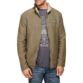 Canberra Zipped Sherpa Lined Macaroni Fleece Top Olive Night