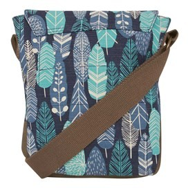 Samla Classic Patterned Canvas Cross Body Bag Navy