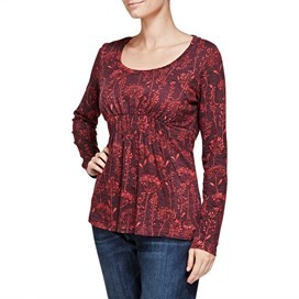 Thea Printed Long Sleeve Jersey Top Boysenberry