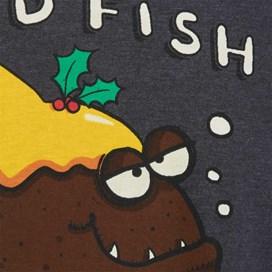 Fishmas Pud Printed Artist T-Shirt Ebony Marl