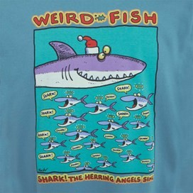 Shark the Herring Printed Artist T-Shirt Adriatic Blue