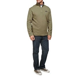 Hail Plain 1/4 Zip Embroidered Sweatshirt Olive Night