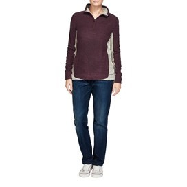 Emmie Colourblock 1/4 Zip Mac Active Macaroni Sweatshirt Boysenberry