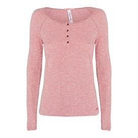 Clarence Long Sleeve Button Neck T-Shirt Rhubarb