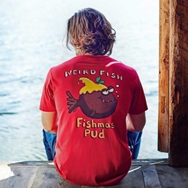 Fishmas Pud Printed Artist T-Shirt Jester Red