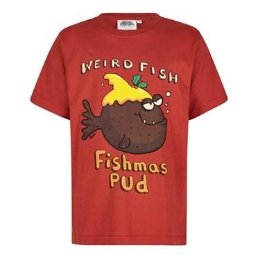 Fishmas Pud Boy's Artist T-Shirt Ketchup Red
