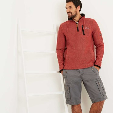 Bowline 1/4 Zip Technical Macaroni Sweatshirt Brick Red