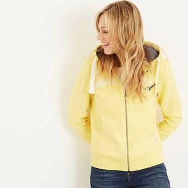 Polly Full Zip Applique Hoodie Lemon Yellow