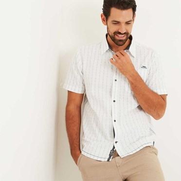 Harmon Stripe Dobby Shirt Off White