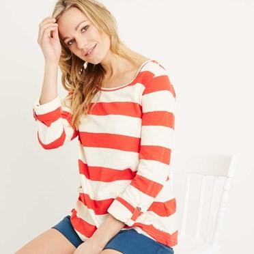 Ajay Cotton Slub Stripe Long Sleeve T-Shirt Tango Red
