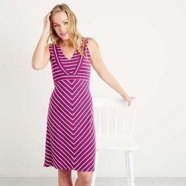Pascale Lightweight Striped Dress Boysenberry