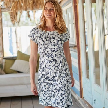 Tallahassee Printed Cotton Jersey Dress Dark Denim