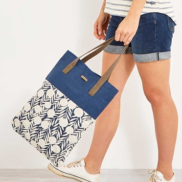 Elena Printed Cotton Shopper Bag Dark Denim