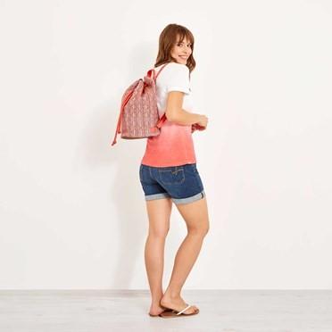 Arabella Jacquard Duffle Backpack Dusty Orange