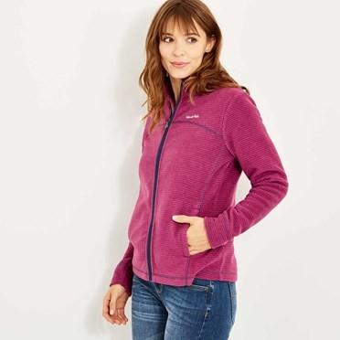 Monroe Striped Microfleece Full Zip Boysenberry