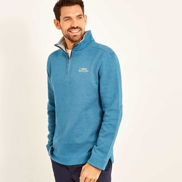 Hail 1/4 Zip Neck Embroidered Sweat Blue Jay