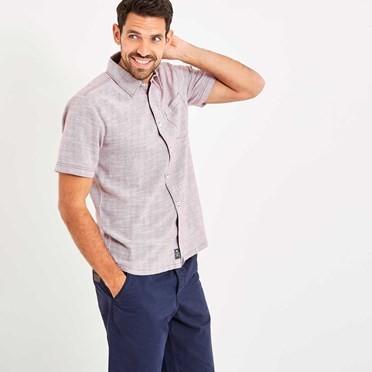 Langholm Stripe Short Sleeve Shirt Brick Red