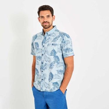 Harris Button Down Printed Denim Short Sleeve Shirt Denim Blue