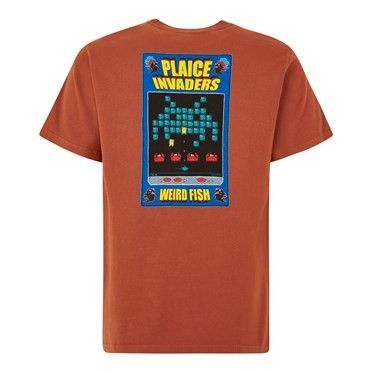 Plaice Invaders Artist T-Shirt Brick Orange