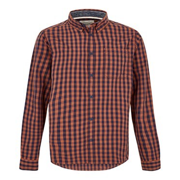 Blakely Long Sleeve Gingham Check Shirt Brick Orange