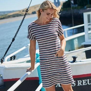 Brit Stripe Jersey Dress Light Cream