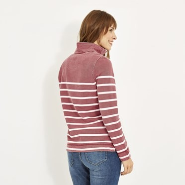 Hansley Striped Pique Button Sweat Rhubarb