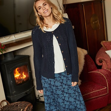 Sara Cable Knit Outfitter Cardigan Dark Navy